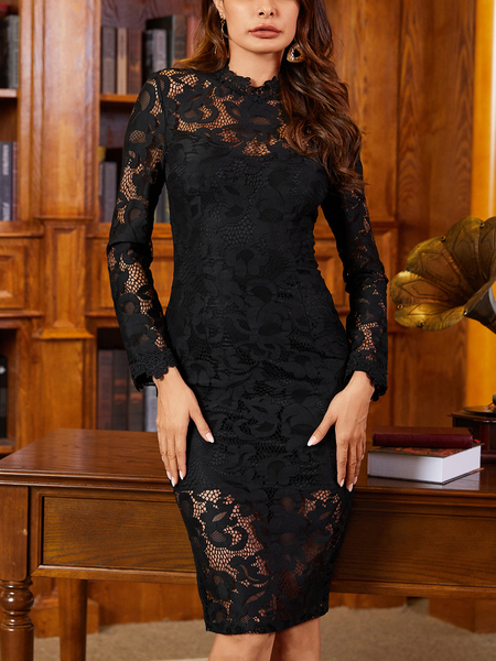 YOINS Lace Hollow Design Long Sleeves Dress