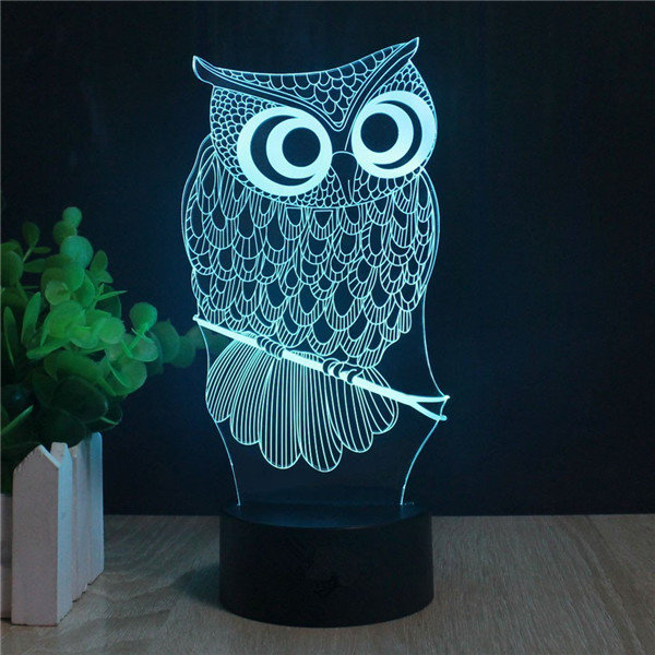 DecBest Owl 3D LED Lights USB Battery Colorful Touch Control Night Light Gift Home Decor