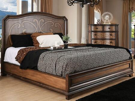 Emmaline Collection CM7831Q-BED Queen Bed Size Panel Bed with Wooden Headboard  Laser Cut Drawer Panel Design  Solid Wood and Wood Veneer