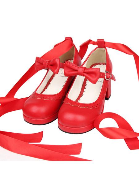Milanoo Sweet Lolita Heels Petal Bow Strappy Tie Leg Chunky Heel Red Lolita Shoes