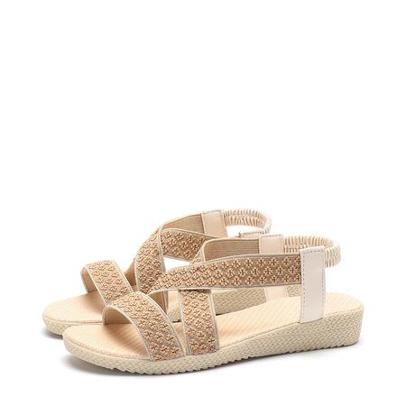 Yoins Beige Boho Knitted  Flat Sandals