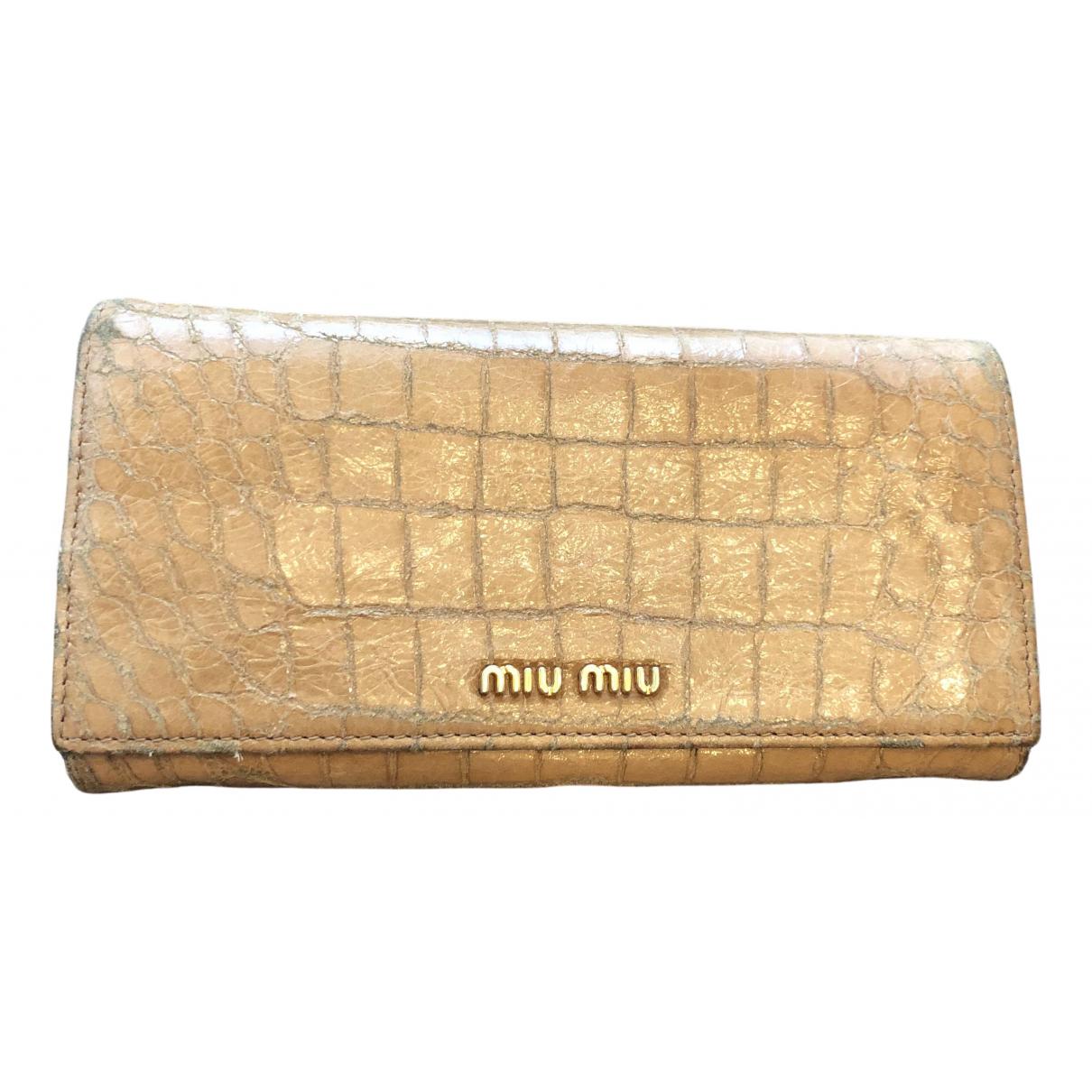 Miu Miu - Portefeuille   pour femme en cuir - marron