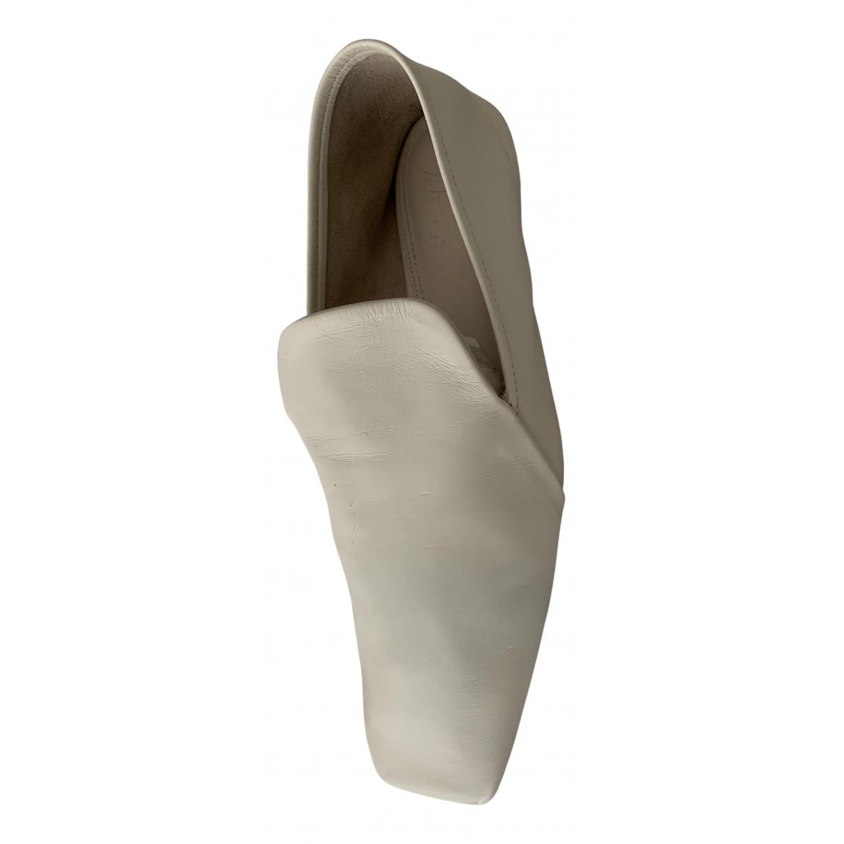 Zara - Mocassins   pour femme en cuir - blanc