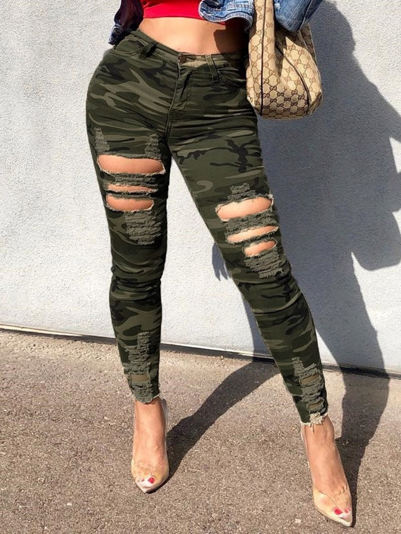 Ericdress Hole Camouflage Skinny High Waist Casual Pants