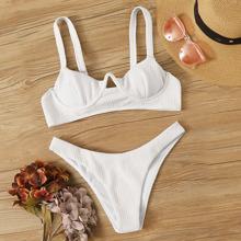 Textured Underwire High Cut Bikini Swimsuit