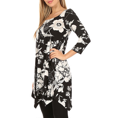 White Mark Womens Scoop Neck 3/4 Sleeve Tunic Top, Small , Black