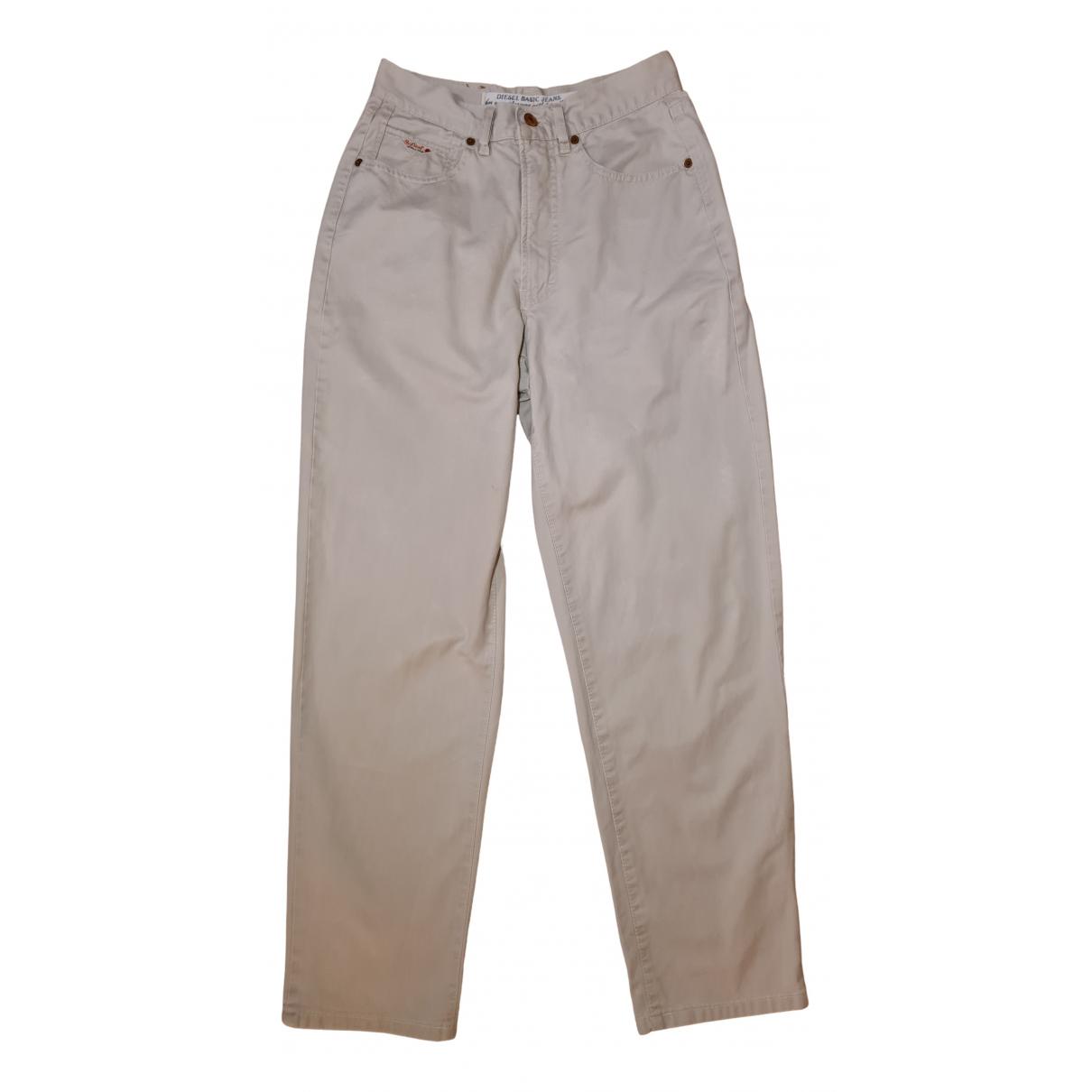Diesel N Ecru Cotton Trousers for Women XL International
