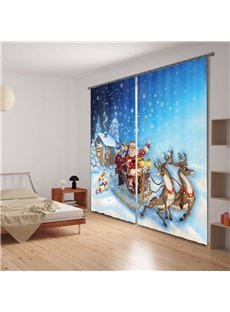 3D Santa Claus and Elks Printed Christmas Theme Polyester 2 Panels Custom Curtain
