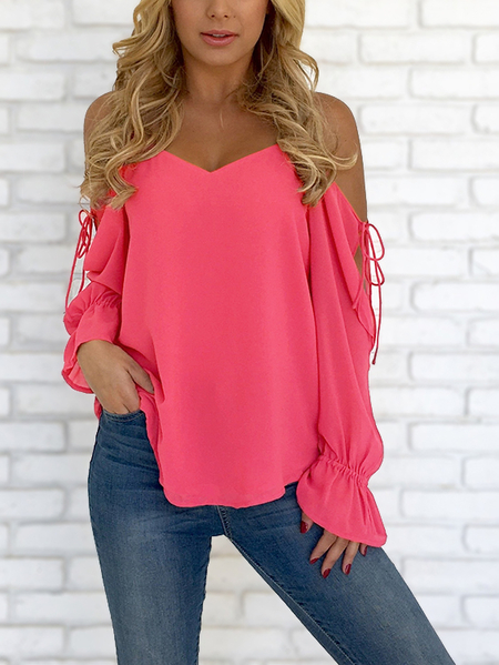 Yoins Red V-neck Cold Shoulder Lace-up Chiffon Blouse