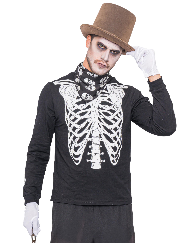 Herren-Kostuem T-Shirt Skelett langarm Herren S/M Grosse: S/M