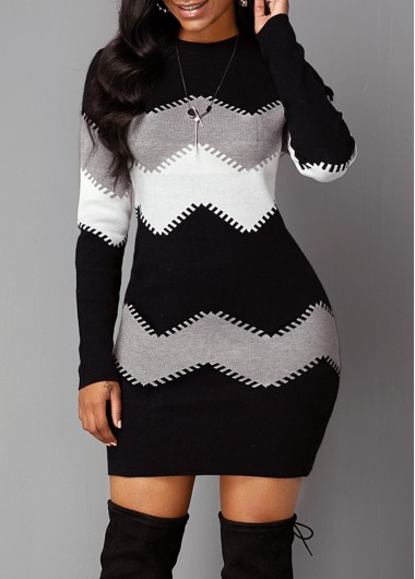 Women'S Black And White Long Sleeve Sheath Sweater Dress Color Block Chevron Pattern Mock Neck Mini Cocktail Party Dress By Rosewe - XL
