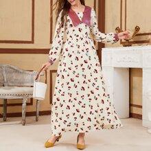 A-Linie Kleid mit Kirsche Muster und Peter Pan Kragen