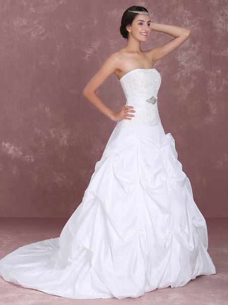 Milanoo Ball Gown Strapless Applique Taffeta Draped Wedding Dress