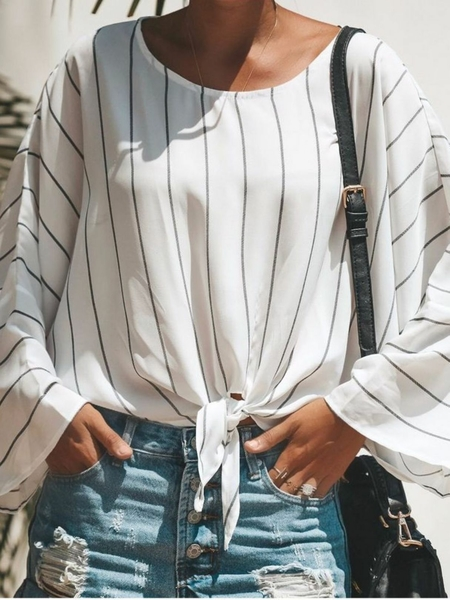Yoins Lace-up Design Striped Round Neck Long Sleeves Blouse
