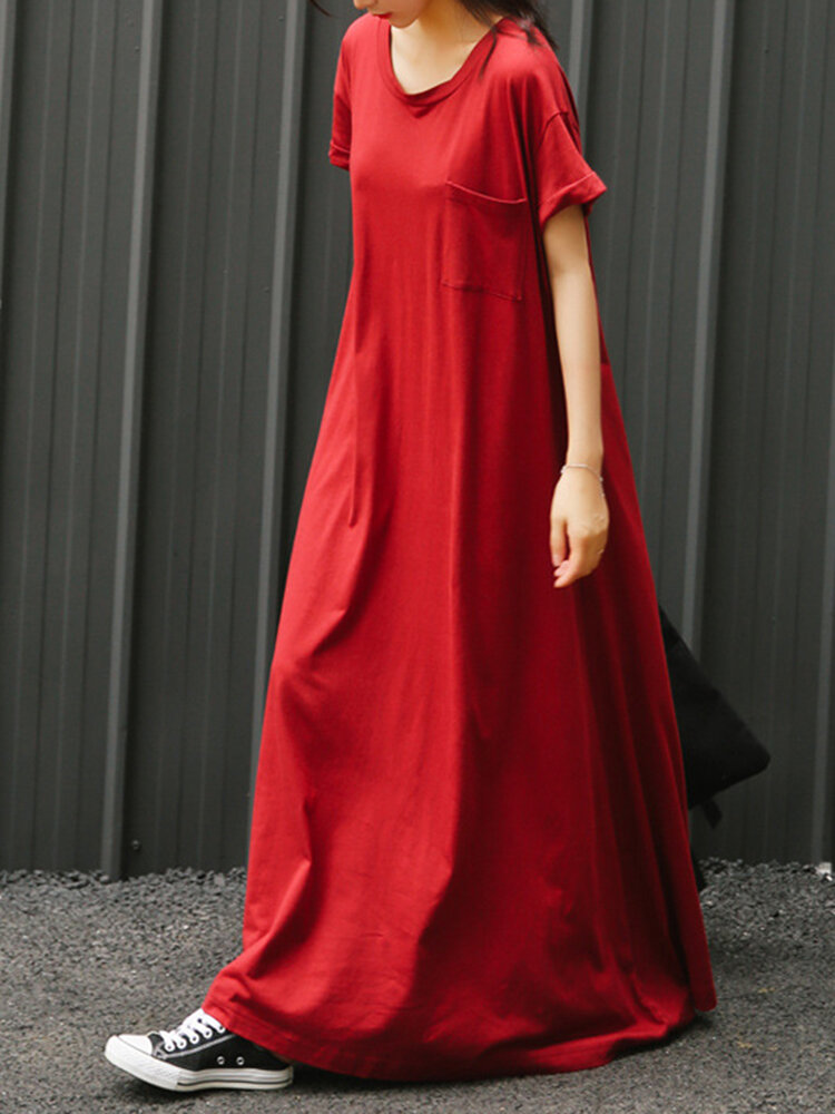 Casual Pure Color Short Sleeve Maxi Dresses With Pocket For Women