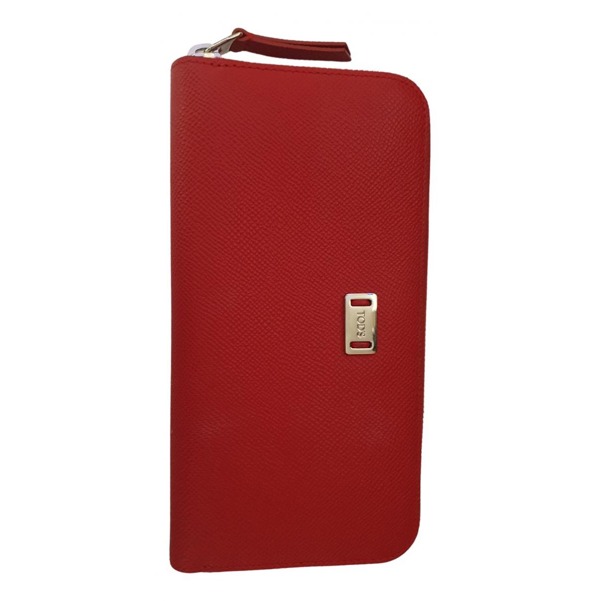 Tods - Portefeuille   pour femme en cuir - rouge