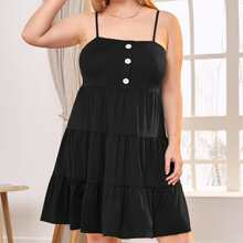 Plus Button Front Ruffle Hem Cami Dress