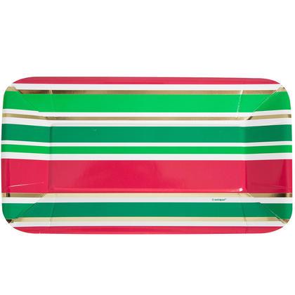 Foil Rectangle Paper Appetizer Chic Christmas Plates, 9