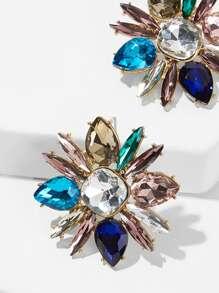 Color-block Gemstone Flower Stud Earrings 1pair