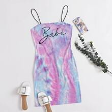 Vestido ajustado de tie dye con estampado de letra