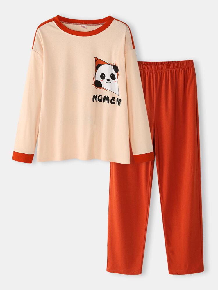 Women Cartoon Panda Print Cotton Round Neck Two-Piece Home Pajamas Set