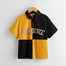 Boys Letter Graphic Colorblock Polo Shirt
