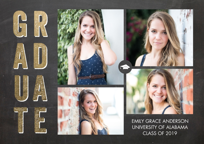 Graduation Announcements 5x7 Cards, Premium Cardstock 120lb, Card & Stationery -Graduate Bold Letters by Tumbalina