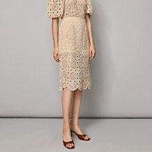 Zipper Side Split Hem Crochet Skirt