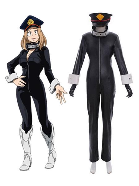 Milanoo Boku No Hero Academia Cosplay Utsushimi Kemy Black Polyester Headwear Choker Overcoat Cosplay Costumes
