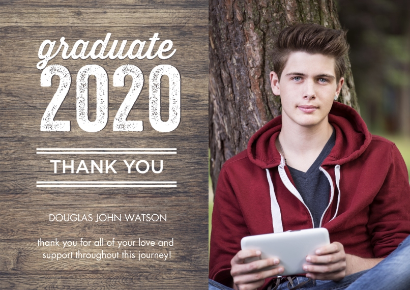 Graduation Thank You Cards 5x7 Cards, Premium Cardstock 120lb with Scalloped Corners, Card & Stationery -Graduate Thank You 2020 Woodgrain by Tumbalin