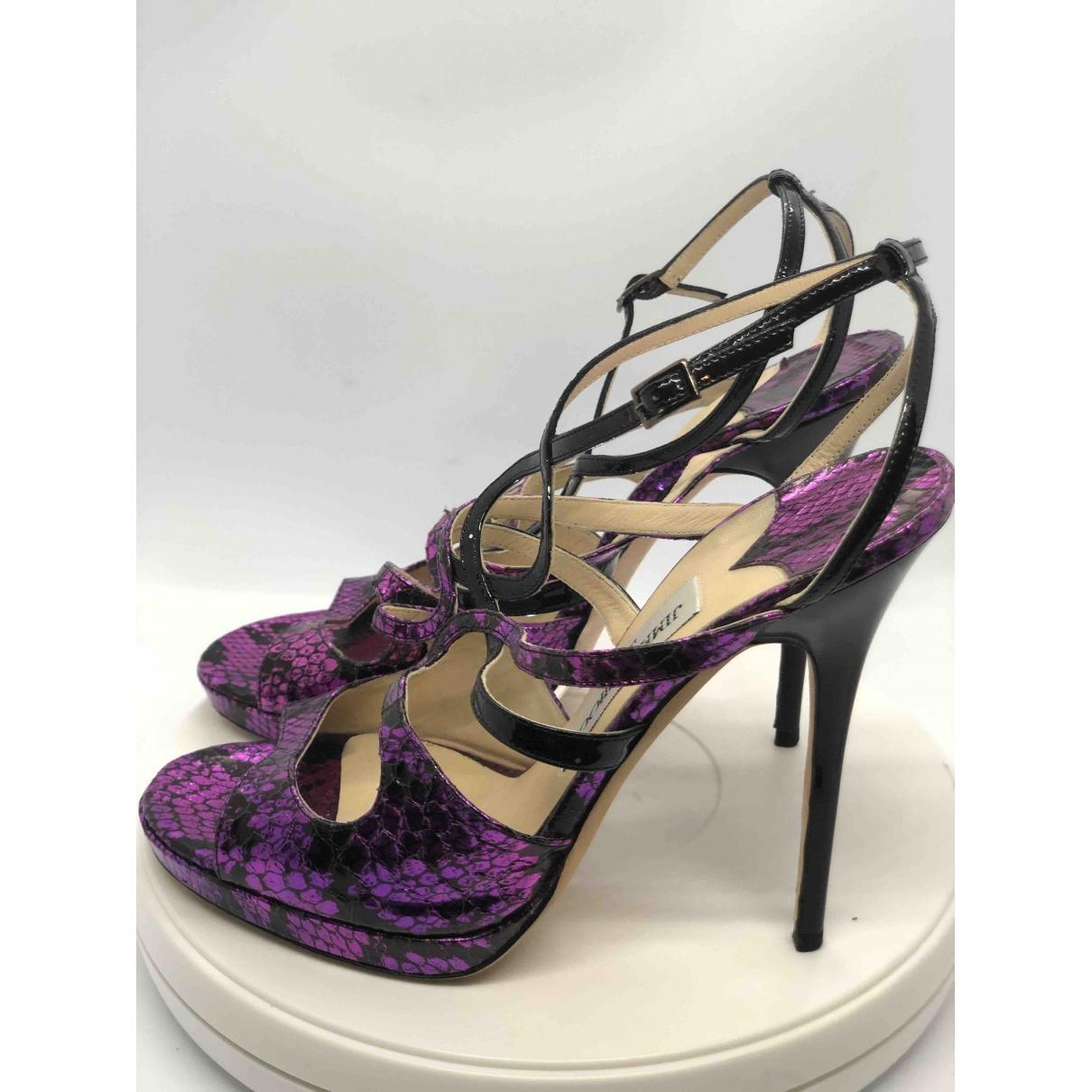 Jimmy Choo Emily Purple Python Sandals for Women 40 EU