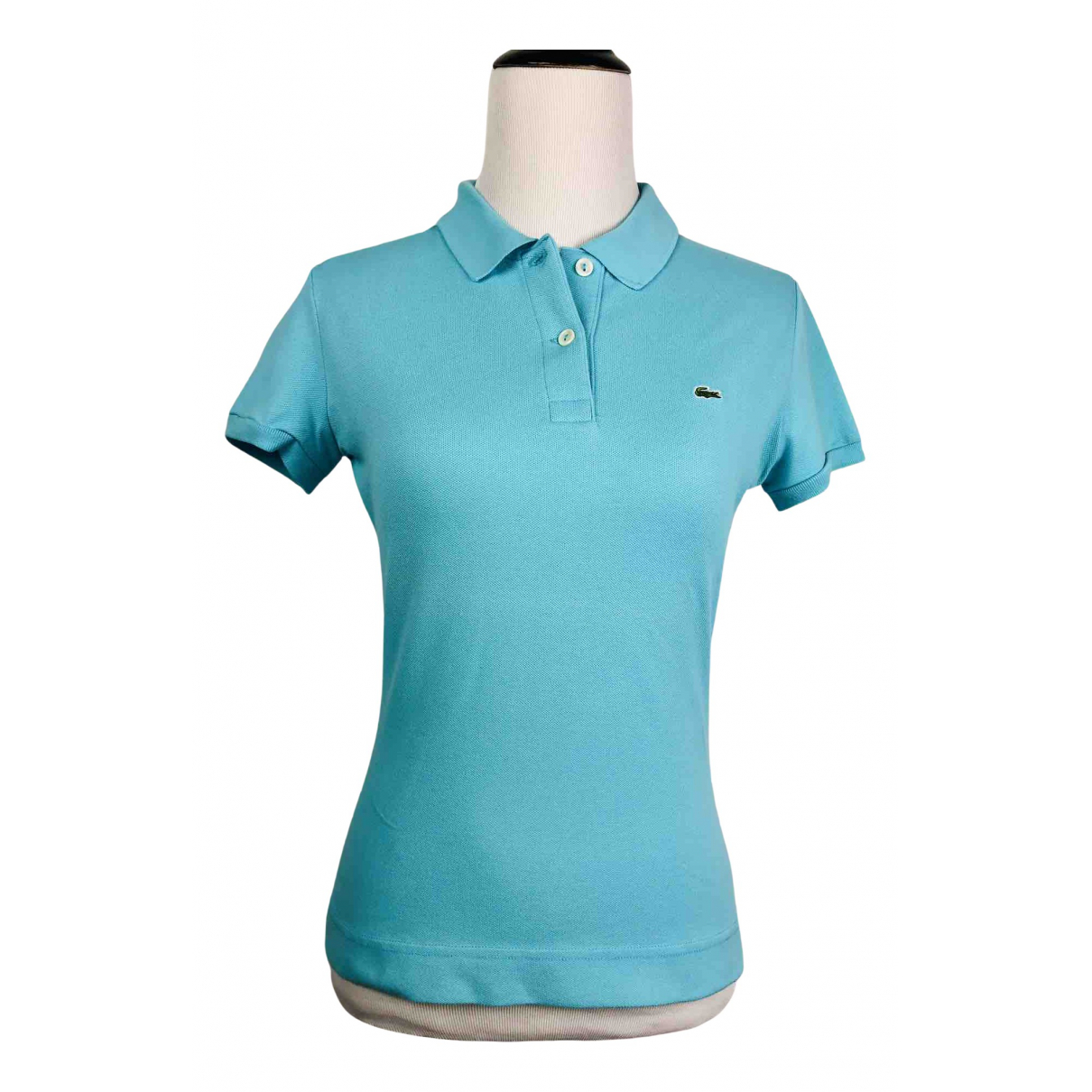 Lacoste N Turquoise Cotton  top for Women 8 US