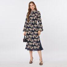 Bell Sleeve Ruffle Hem Allover Floral Dress