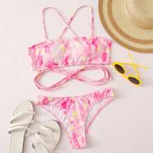 Gerippter Bikini Badeanzug mit Blumen Muster, Batik und hohem Ausschnitt