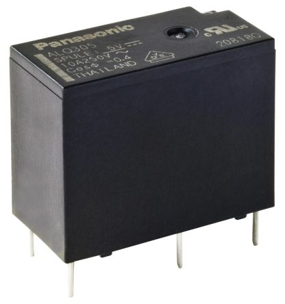 Panasonic , 5V dc Coil Non-Latching Relay SPNO, 10A Switching Current PCB Mount Single Pole
