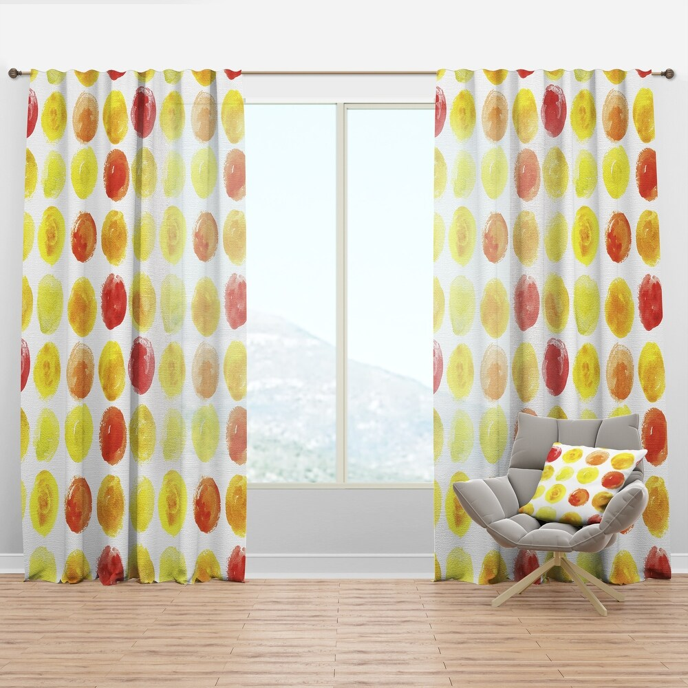 Designart 'Pattern with Yellow Watercolor Spots' Modern & Contemporary Curtain Panel (50 in. wide x 63 in. high - 1 Panel)