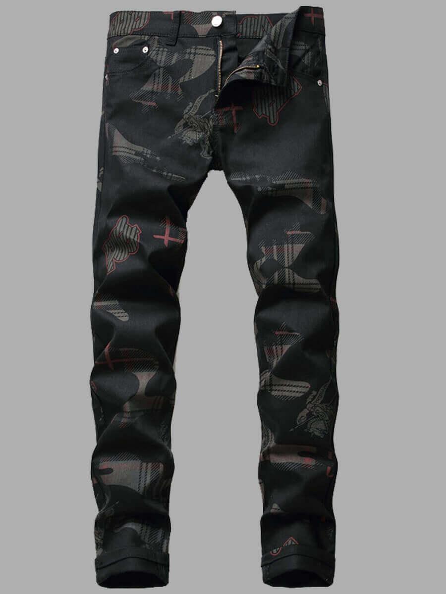 LW Lovely Casual Print Patchwork Black Men Jeans