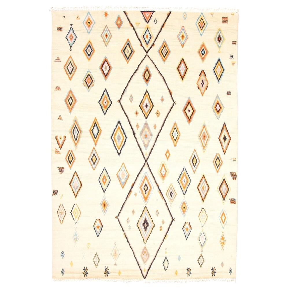 ECARPETGALLERY  Hand-knotted Pak Finest Marrakesh Cream Wool Rug - 9'8 x 14'1 (Cream - 9'8 x 14'1)