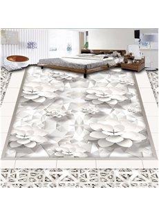 White Flowers Printings European Style Nonslip and Waterproof 3D Floor Murals