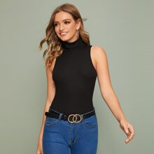 Funnel Neck Rib-knit Top