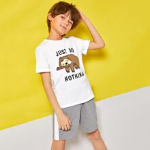 Top mit Karikatur und Buchstaben Grafik & Shorts mit seitlichem Streifen Schlafanzug Set