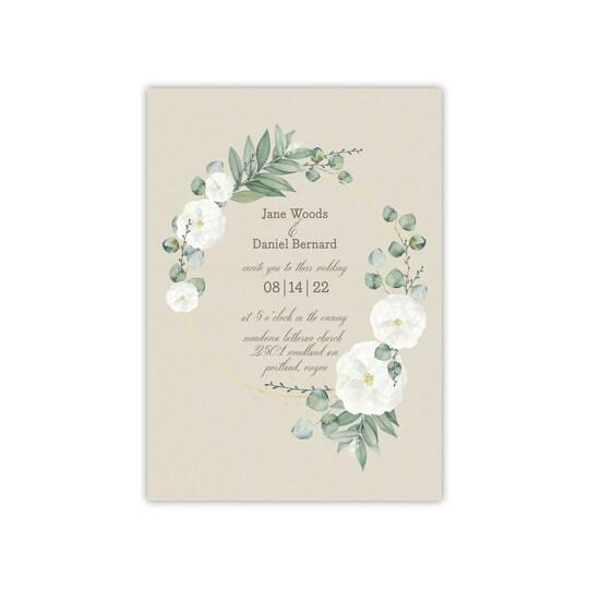 20 Pack of Gartner Studios® Personalized Delicate Wreath Wedding Invitation in Khaki   5