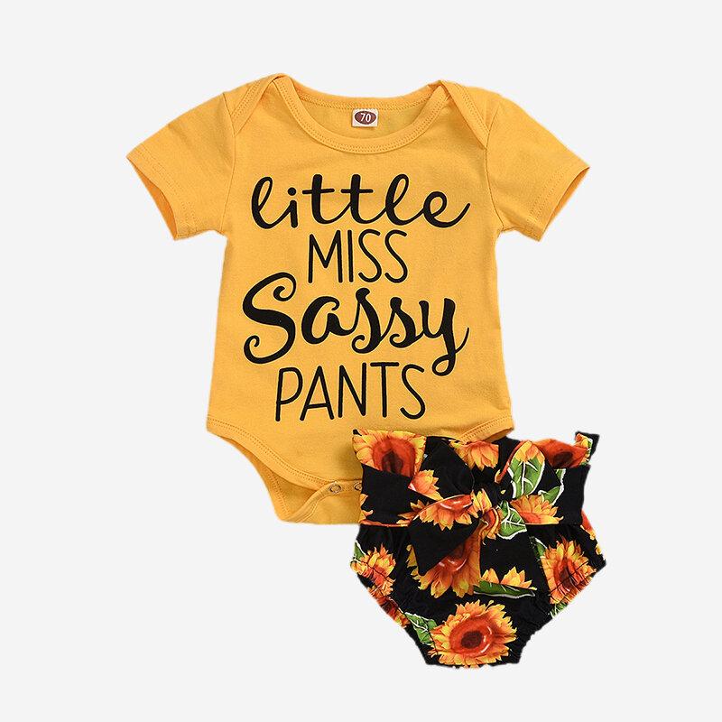 Baby Sunflower Letter Print Short-sleeved Casual Clothing Set For 6-24M