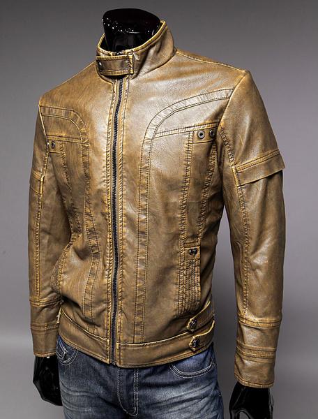 Milanoo Men Leather Jacket Spring Jacket Stand Collar Long Sleeve Zip Up Motorcycle Jacket