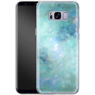 Samsung Galaxy S8 Plus Silikon Handyhuelle - Abstract Galaxy - Light Blue von Barruf