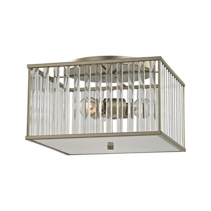 81094/3 Ridley 3 Light Semi Flush in Aged Silver with Oval Glass