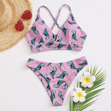 Cartoon Dinosaur Lace-up Back Bikini Swimsuit