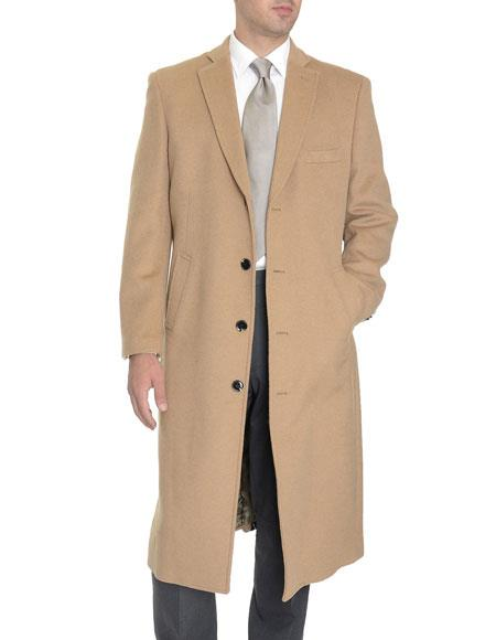 Mens Tan 4 Buttons Full Length Wool Cashmere Blend Overcoat Top Coat