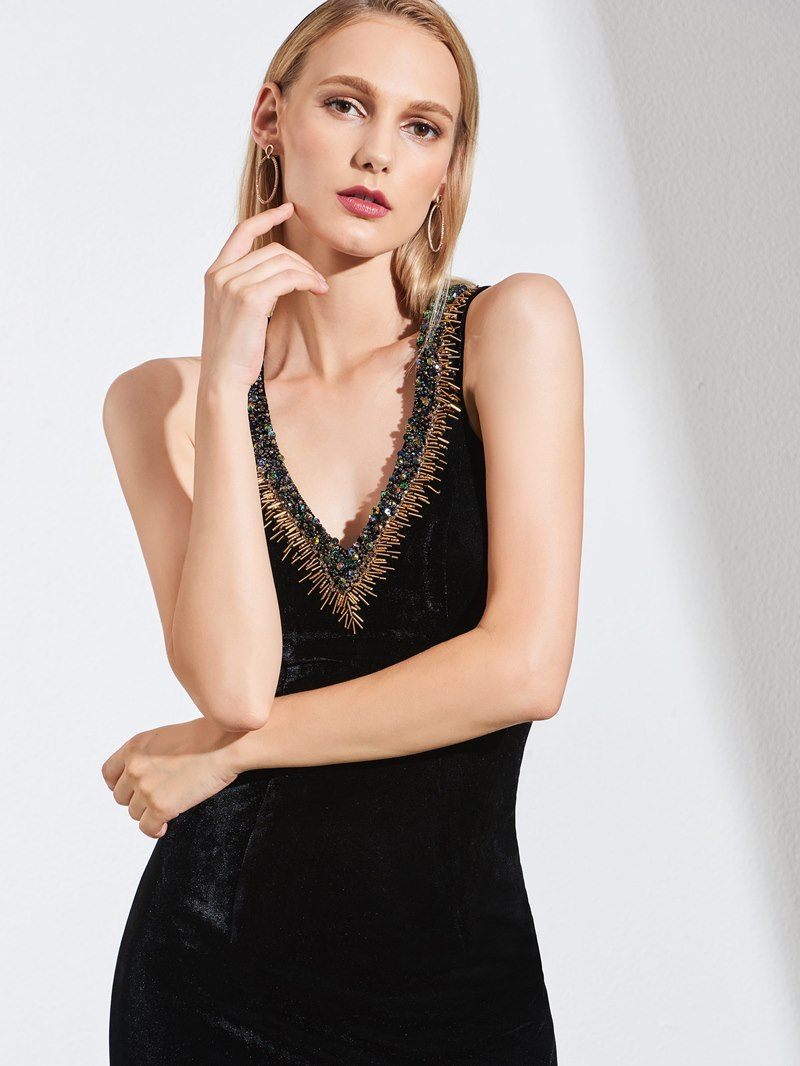Ericdress V Neck Beaded Side Slit Black Mermaid Evening Dress