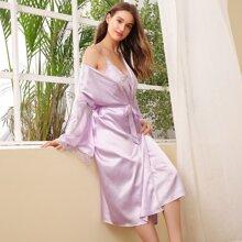 Contrast Lace Self Tie Satin Night Robe